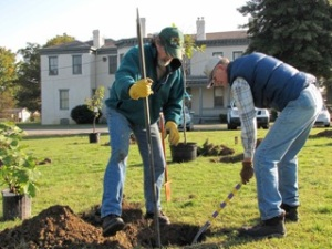 Tree planting at Linwood Holton Elementary School